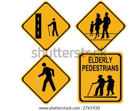 beware people crossing sign blind elderly hiker - stock photo