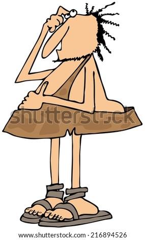Bewildered caveman - stock photo