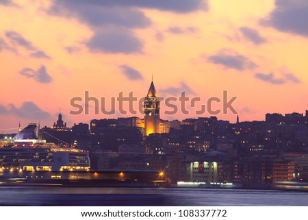 Beyoglu district historic architecture and Galata tower medieval landmark in Istanbul, Turkey - stock photo