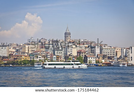 Beyoglu historic district and Galata tower in Istanbul, Turkey  - stock photo