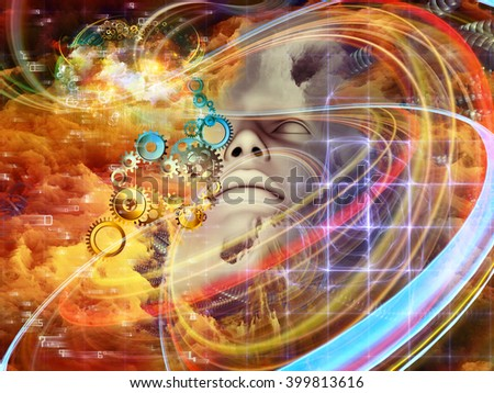 Beyond Human series. Design made of human face, fractal and artificial forms on the subject of inner reality, mental health, imagination, thinking and dreaming - stock photo