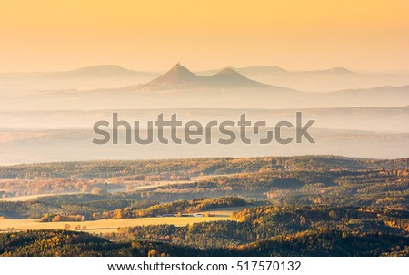 Bezdez castle photographed from Jested mountain, Czech republic
