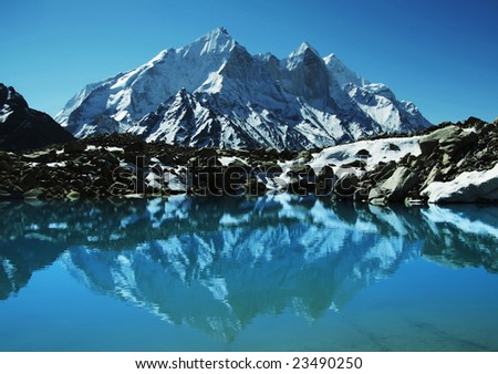 Bhagirathi Parbat peak in Himalayan - stock photo