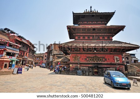 BHAKTAPUR, NEPAL - CIRCA APRIL 2016: The street od Bhaktapur and Bhaktapur Durbar Square after earthquake in 2015.