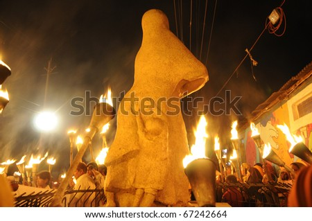 "BHOPAL- DECEMBER 2: Back side of the iconic ""Bhopal Mother Statue""  during the torch rally organized to mark the 26th year of Bhopal gas disaster,in Bhopal - India on December 2, 2010. - stock photo"