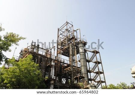BHOPAL - NOVEMBER 17: A   view of the area of the gas plant that leaked MIC gas at the Union Carbide Gas Plant  in Bhopal - India on November 17, 2010. - stock photo