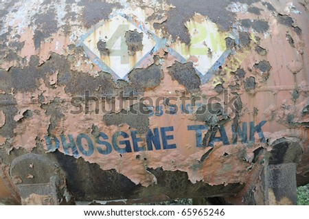 BHOPAL - NOVEMBER 17: The deadly tanker of the Phosgene gas that leaked in 1980 and killed one worker, at the Union Carbide Gas Plant  in Bhopal - India on November 17, 2010. - stock photo