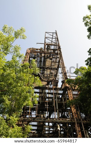BHOPAL - NOVEMBER 17: The main part of the gas plant that leaked gas of the Union Carbide Gas Plant  in Bhopal - India on November 17, 2010. - stock photo