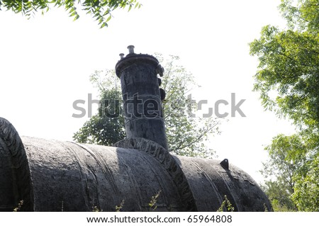 BHOPAL - NOVEMBER 17: The vessel that actually contained  40 tonnes the deadly MIC and was underground when it leaked in the Union Carbide Gas Plant in Bhopal - India on November 17, 2010. - stock photo