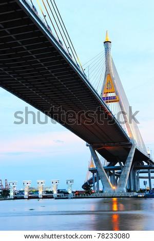 Bhumibol Bridge also casually call as Industrial Ring Road Bridge, Samut Prakarn,Thailand - stock photo