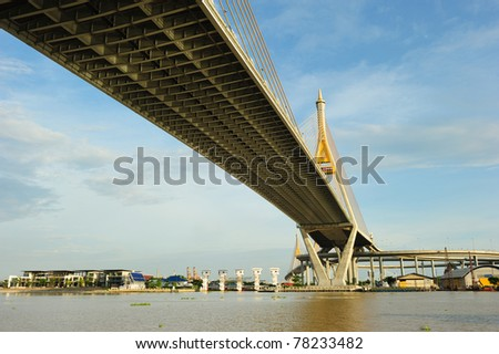 Bhumibol Bridge also casually call as Industrial Ring Road Bridge, Samut Prakarn,Thailand - stock photo
