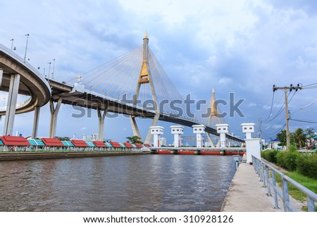 Bhumibol bridge over the Chao Phraya river in Bangkok, Thailand - stock photo