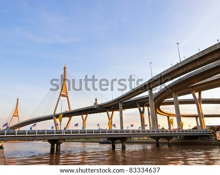 Bhumibol Bridge the biggest bridge in Thailand
