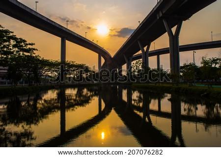 Bhumibol Bridge,the Industrial Ring road Bridge at dusk in Bangkok, Thailand - stock photo