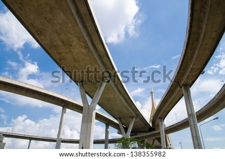 Bhumibol Bridge, The Industrial Ring Road Bridge in Bangkok, Thailand - stock photo