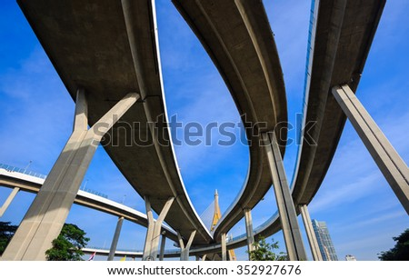 Bhumibol Bridge with blue sky , Bangkok, Thailand