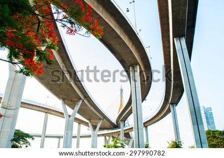 Bhumibol highway Bridges Twilight under view. - stock photo