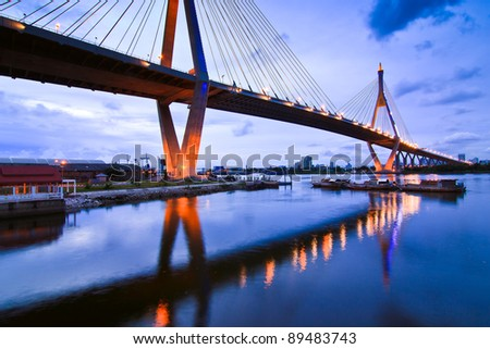 Bhummiphol Bridge in Thailand as background - stock photo