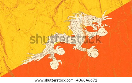 Bhutan flag painted on crumpled paper background