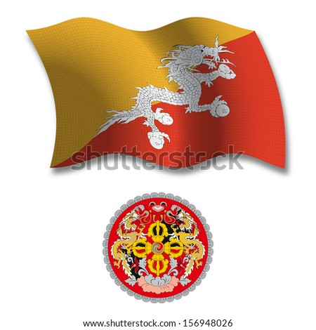 bhutan shadowed textured wavy flag and coat of arms against white background, art illustration - stock photo