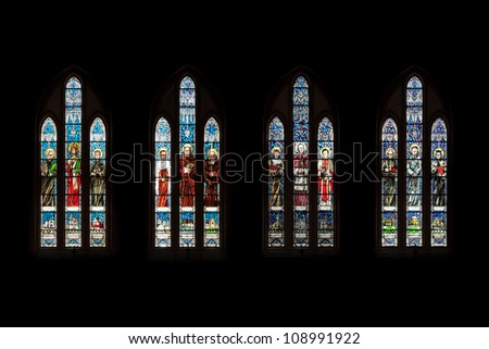 BIALYSTOK, POLAND - JULY 13:  Stained glass window in the Cathedral Basilica of the Assumption of the Blessed Virgin Mary on July 13 2012 in Bialystok, Poland. - stock photo