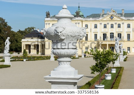 BIALYSTOK, POLAND - OCTOBER 3, 2015: Branicki Palace in Bialystok, Poland is a historical residence of Polish magnate Klemens Branicki a patron of art and science.