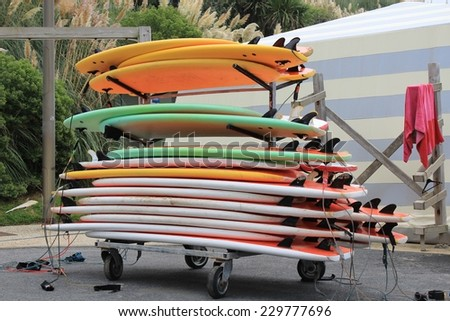 BIARRITZ, FRANCE- AUGUST 30, 2014 - SURFBOARDS FOR RENT - stock photo
