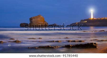 Biarritz lighthouse, Lapurdi, France - stock photo
