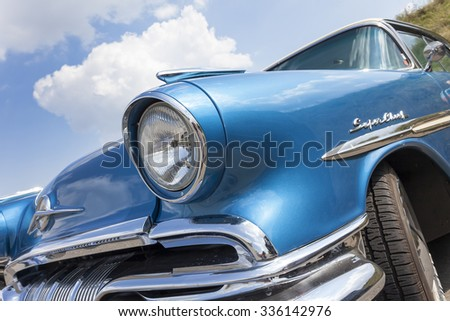 Biberach, Germany, 31 August 2015: American vintage car, close-up of front detail - stock photo