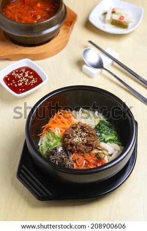 bibimbap in a bowl, korean dish - stock photo