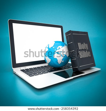 Bible and globe isolated and white laptop on blue background - stock photo