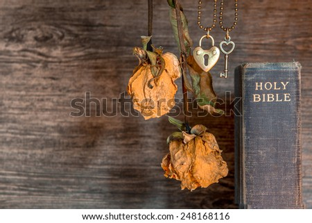 Bible and Heart Key with Dried Flower, Open up your heart and invite Jesus into your life. - stock photo