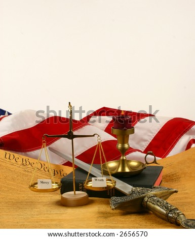 """Bible, Flag of the USA, Constitution, Candle, Sword and Balance with """"Wrath"""" and """"Mercy"""" with space for text - stock photo"""