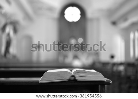 Bible in church , black and white , B&W - stock photo