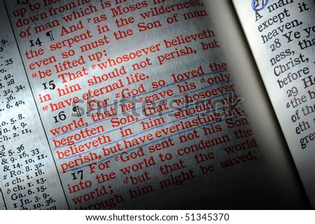 Bible opened to John 3:16 - stock photo