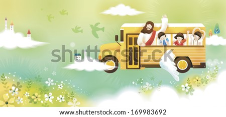 Biblical adventure road trip for kids - stock photo