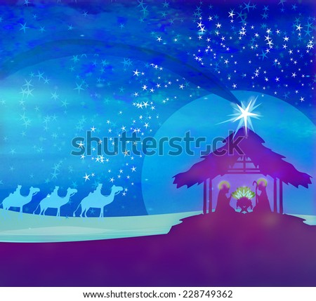 Biblical scene - birth of Jesus in Bethlehem.  - stock photo