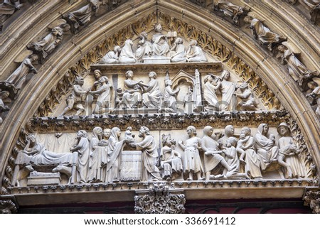 Biblical Statues Cloisters Door Notre Dame Cathedral Paris France.  Notre Dame was built between 1163 and 1250 AD.   - stock photo