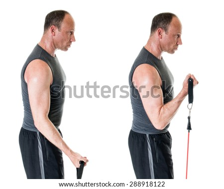 Bicep curl exercise with resistance band. Studio shot over white. - stock photo