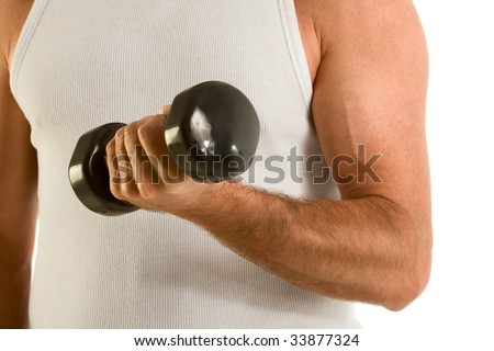 biceps of man working out with black medium size dumbbell - stock photo