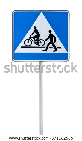 Bicycle and pedestrian road sign isolated bike cycling and walking - stock photo