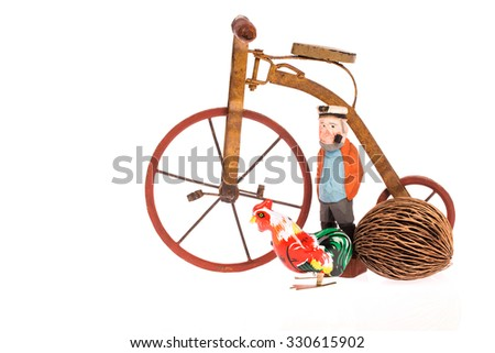 bicycle and wooden man on white background