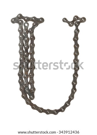 Bicycle chain letter U on white background. Bicycle alphabet.  - stock photo