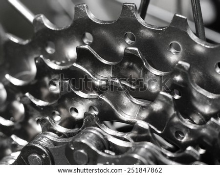 Bicycle chainrings - stock photo