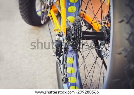 Bicycle gears, disc brake - stock photo
