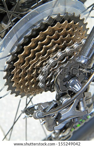 Bicycle gears mechanism on the rear wheel  - stock photo