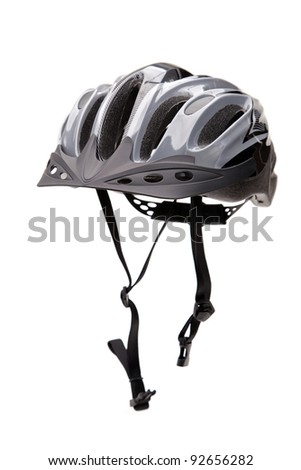 Bicycle Helmet With A Chin Strap Isolated Against A White Background, Vertical Framing - stock photo
