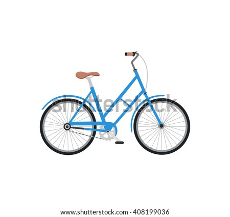 Bicycle icon design flat isolated. Bike and blue bycicle, cycling race sport. Mountain bicycle, travel bicycle  illustration