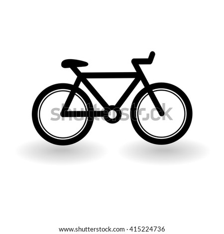 bicycle icon isolated on white. Raster version - stock photo