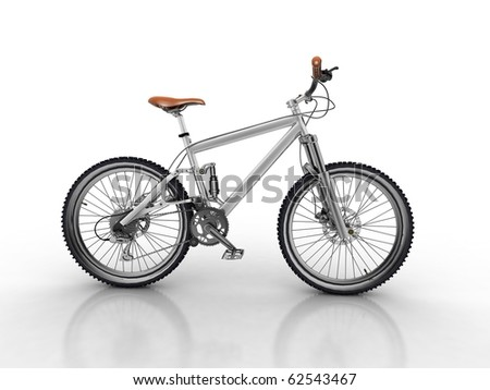 Bicycle isolated on white background - stock photo